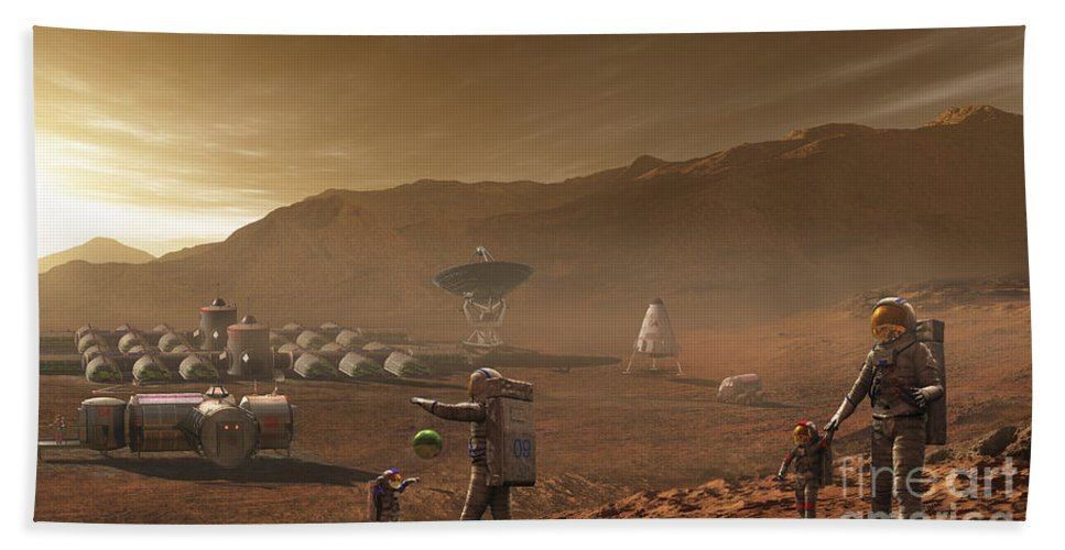 Family Beach Towel featuring the digital art Future Mars Colonists Playing by Steven Hobbs