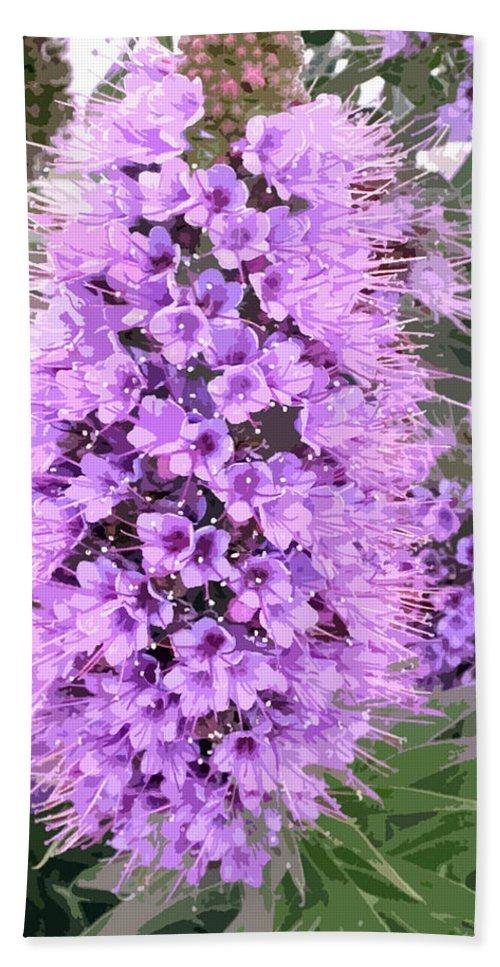 Fuzzy purple flower spike beach sheet for sale by elaine plesser flower beach sheet featuring the painting fuzzy purple flower spike by elaine plesser mightylinksfo