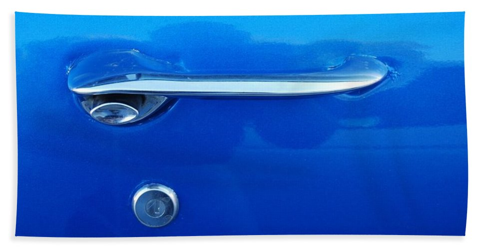 Oldsmobile Beach Towel featuring the photograph G M Door Handle by Rob Hans