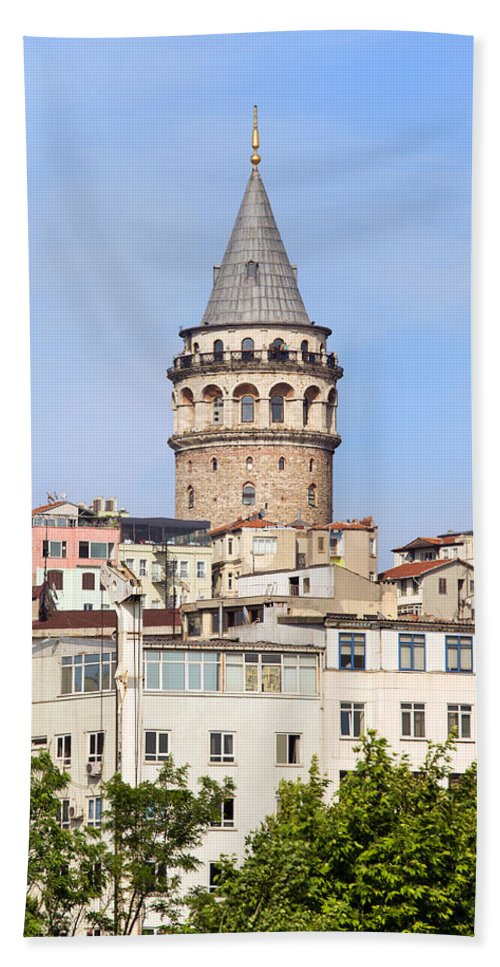 Galata Beach Towel featuring the photograph Galata Tower In Istanbul by Artur Bogacki