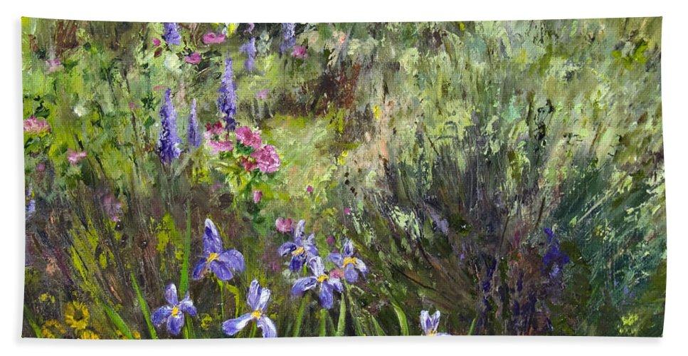 Garden Beach Towel featuring the painting Garden Party by Dee Carpenter