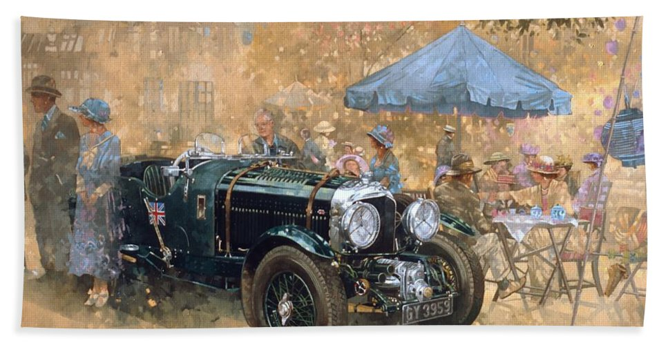 Bentley Beach Towel featuring the painting Garden Party With The Bentley by Peter Miller