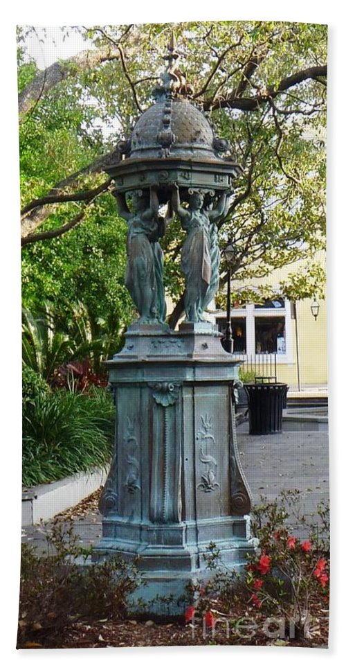 Photograph Beach Towel featuring the photograph Garden Statuary In The French Quarter by Alys Caviness-Gober