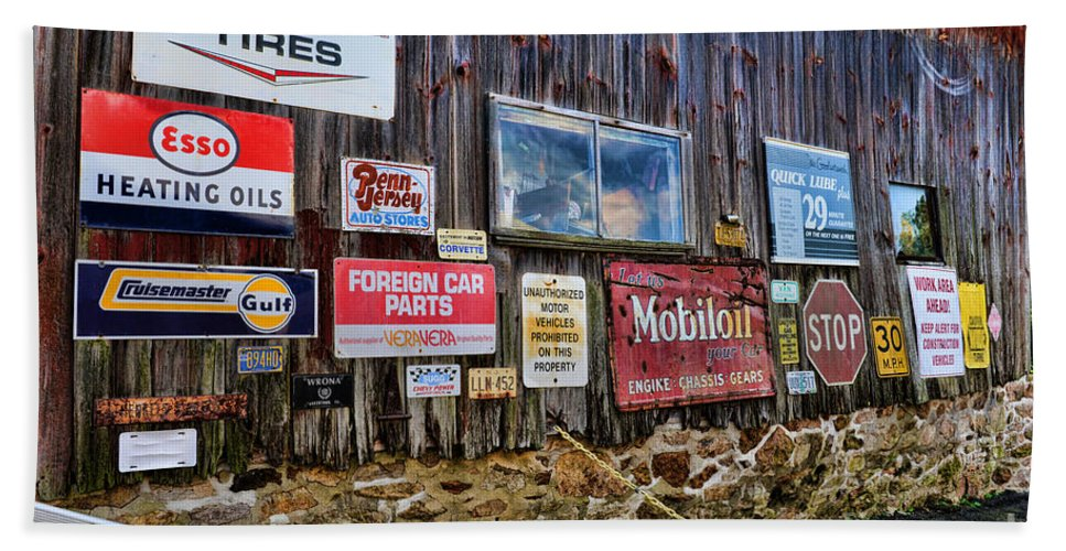 Gas Station Signs Beach Towel featuring the photograph Gas Station Signs by Paul Ward
