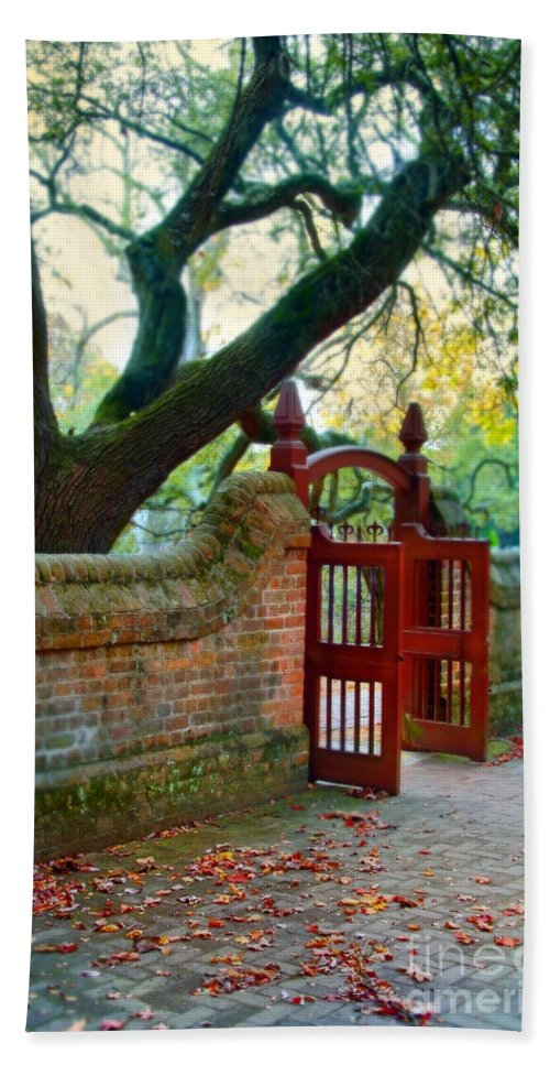 Gate In Brick Wall Beach Towel featuring the photograph Gate In Brick Wall by Jill Battaglia