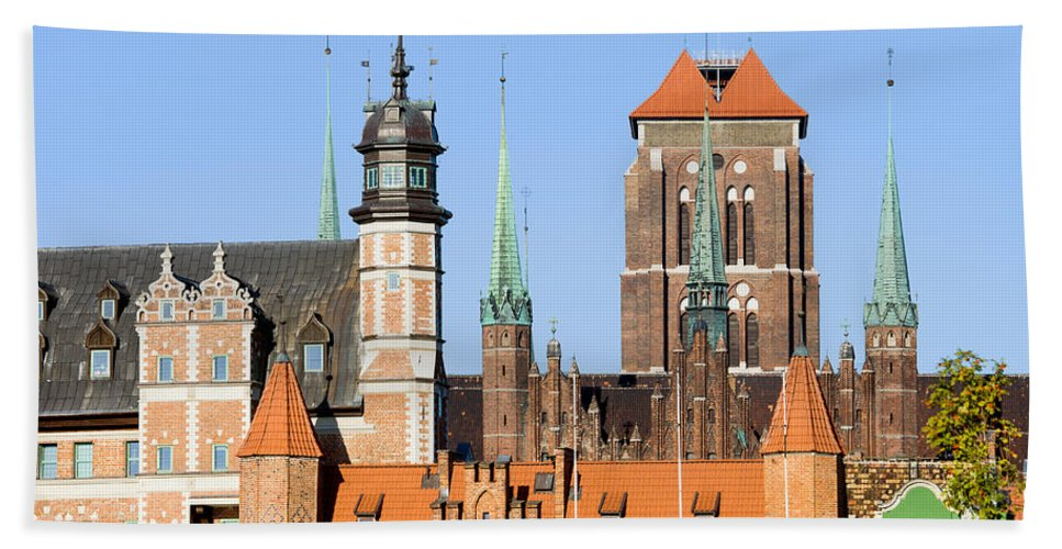 Gdansk Beach Towel featuring the photograph Gdansk Old Town In Poland by Artur Bogacki