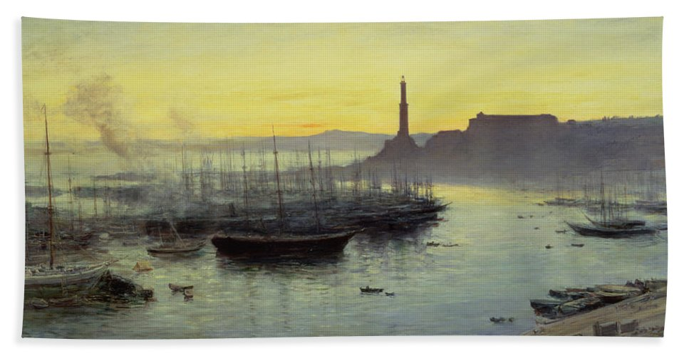 Genoa Beach Towel featuring the painting Genoa by John MacWhirter
