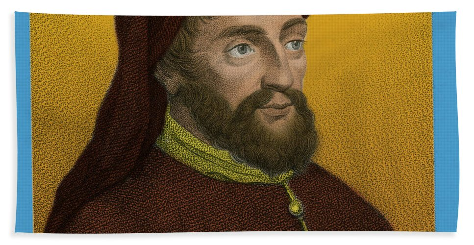 History Beach Towel featuring the photograph Geoffrey Chaucer, Father Of English by Photo Researchers