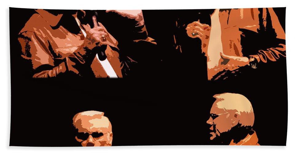 George Jones Beach Towel featuring the digital art George Jones Concert Collage by Barbara Griffin