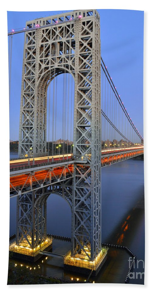 George Beach Towel featuring the photograph George Washington Bridge At Twilight by Zawhaus Photography
