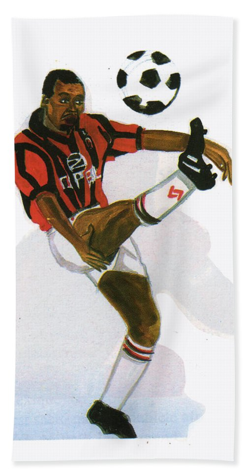 Sports Beach Towel featuring the painting George Weah In Action by Emmanuel Baliyanga