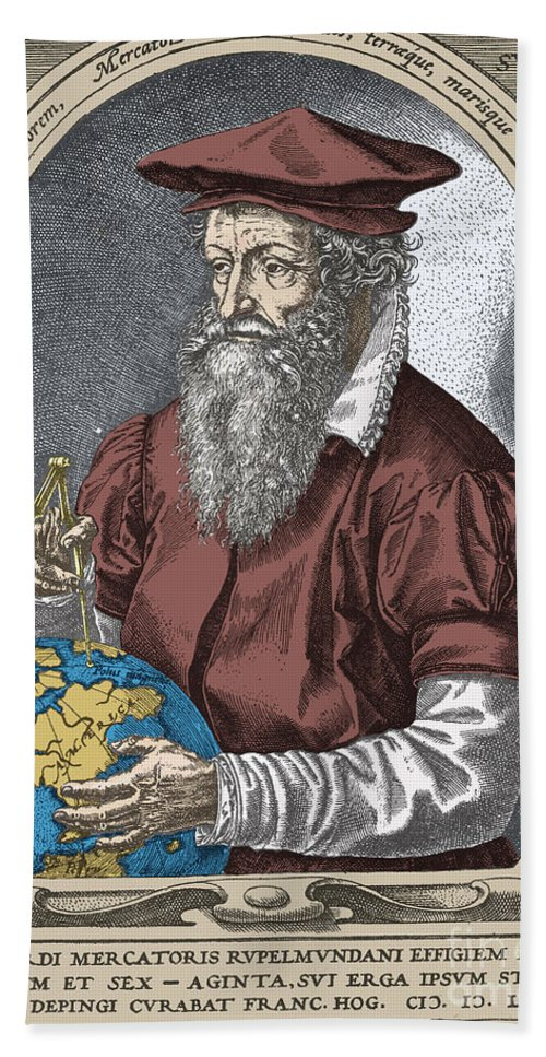 History Beach Towel featuring the photograph Gerardus Mercator, Flemish Cartographer by Science Source