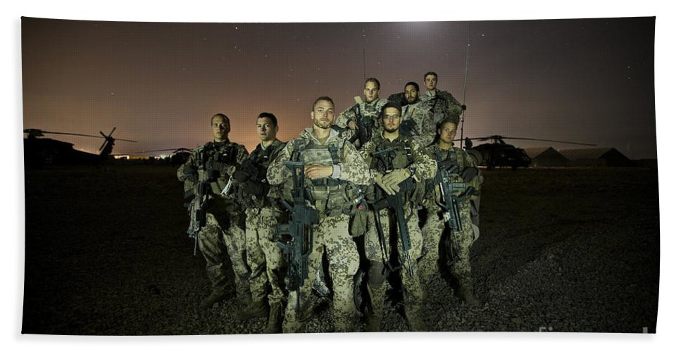 Provincial Reconstruction Team Beach Towel featuring the photograph German Army Crew Poses by Terry Moore