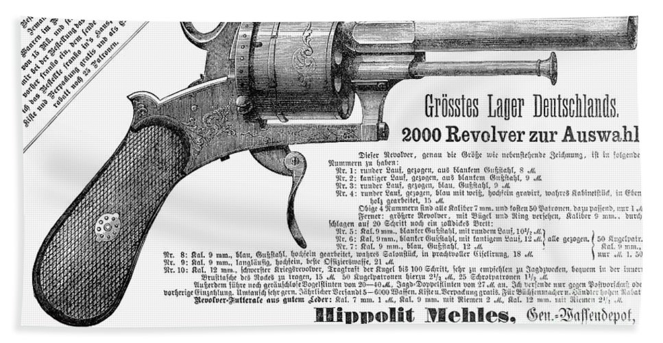 1880 Beach Towel featuring the photograph German Revolver, 1880 by Granger