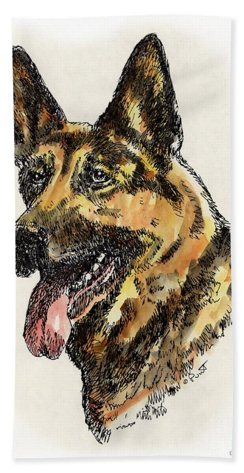 German Shepherd Beach Towel featuring the painting German-shepherd-portrait by Gordon Punt