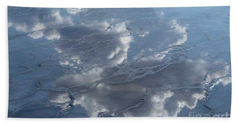 Yellowstone Beach Towel featuring the photograph Geyser Basin Cloud Reflection by Sandra Bronstein
