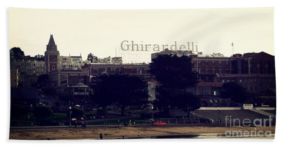 Ghirardelli Beach Towel featuring the photograph Ghirardelli Square by Linda Woods