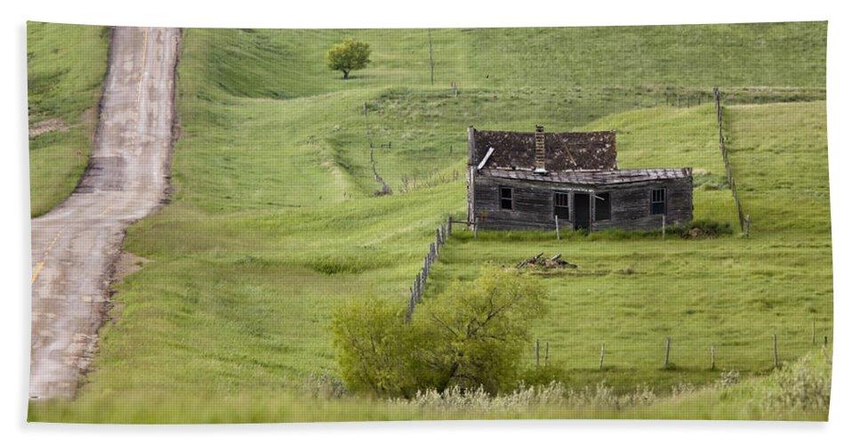 Old Beach Towel featuring the digital art Ghost Town Galilee Saskatchewan by Mark Duffy