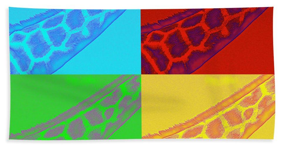 Giraffe Beach Towel featuring the photograph Giraffe Pop Art by Traci Cottingham