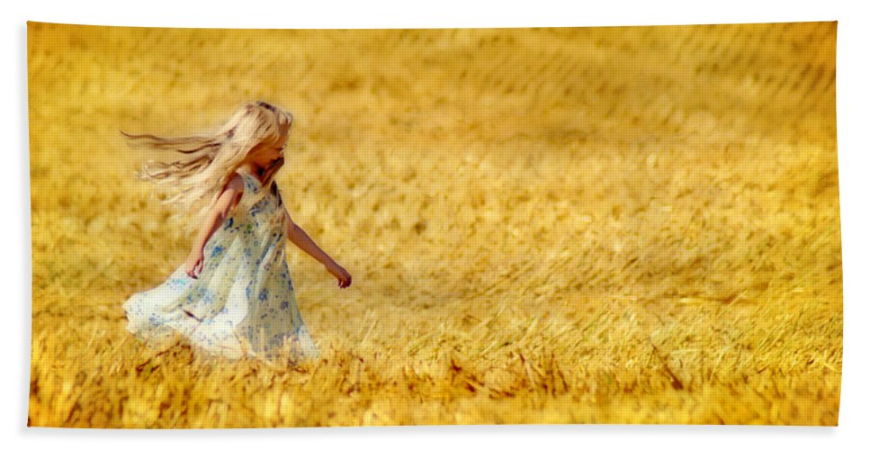 Girl Beach Towel featuring the photograph Girl With The Golden Locks by Bill Pevlor