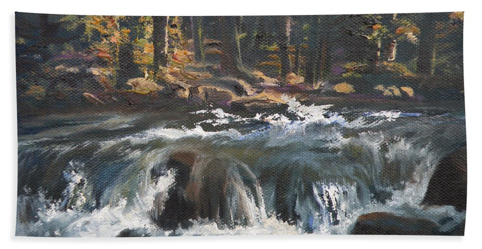 Water Falls Beach Towel featuring the painting Glacier Np Plein Air One by Mia DeLode