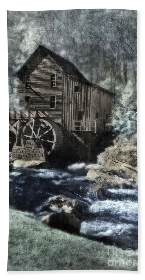 Mill Beach Towel featuring the photograph Glade Creek Mill In Infrared. by Jill Battaglia