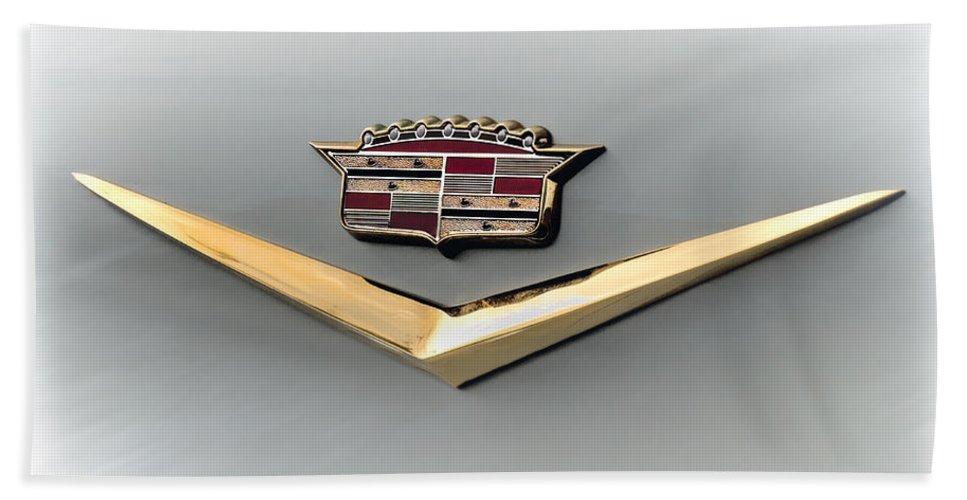 Cadillac Beach Towel featuring the digital art Gold Badge Cadillac by Douglas Pittman