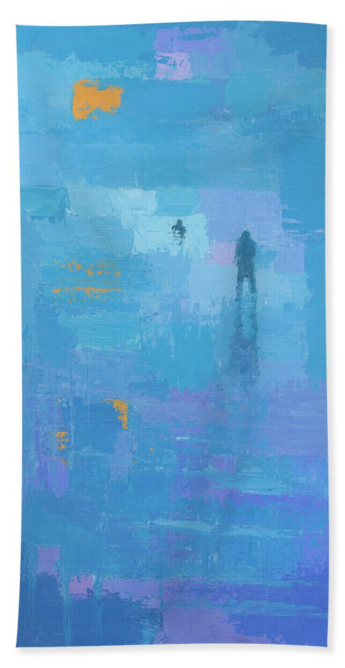 Art Beach Towel featuring the painting Gold In Blue by Steve Mitchell