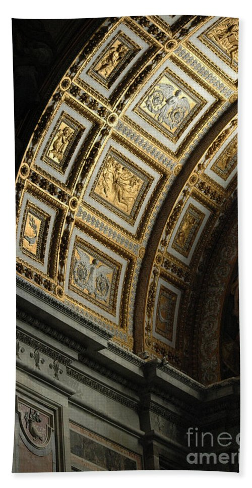 Gold Beach Towel featuring the photograph Gold Inlay Arches St. Peter's Basillica by Mike Nellums
