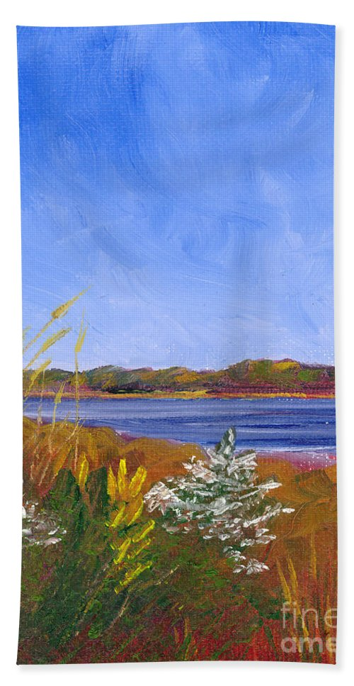 Delaware Beach Towel featuring the painting Golden Delaware River by Jackie Irwin