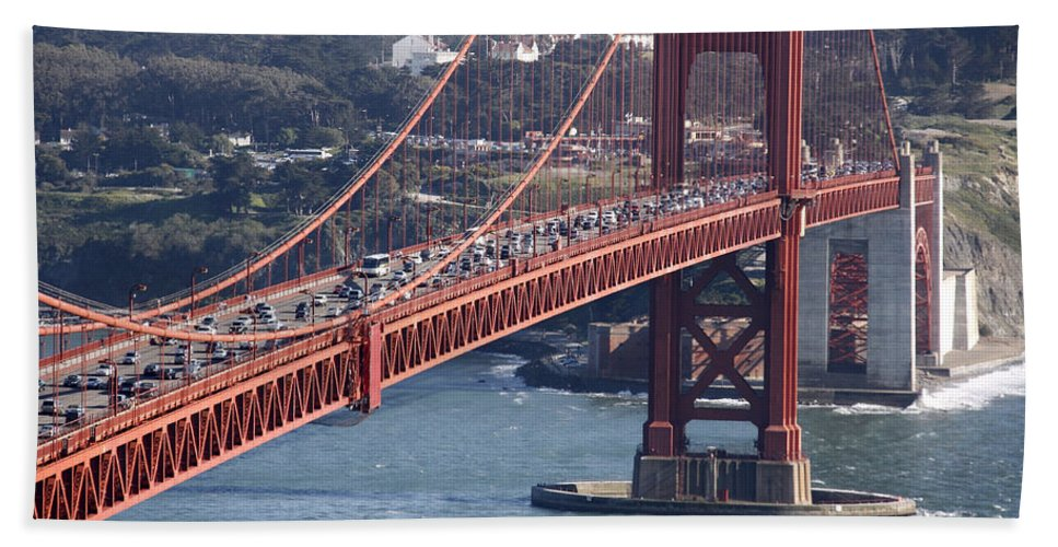 Golden Gate Traffic Beach Towel featuring the photograph Golden Gate Traffic by Wes and Dotty Weber