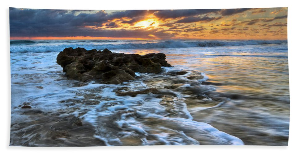 Blowing Rocks Beach Towel featuring the photograph Golden Glow by Debra and Dave Vanderlaan
