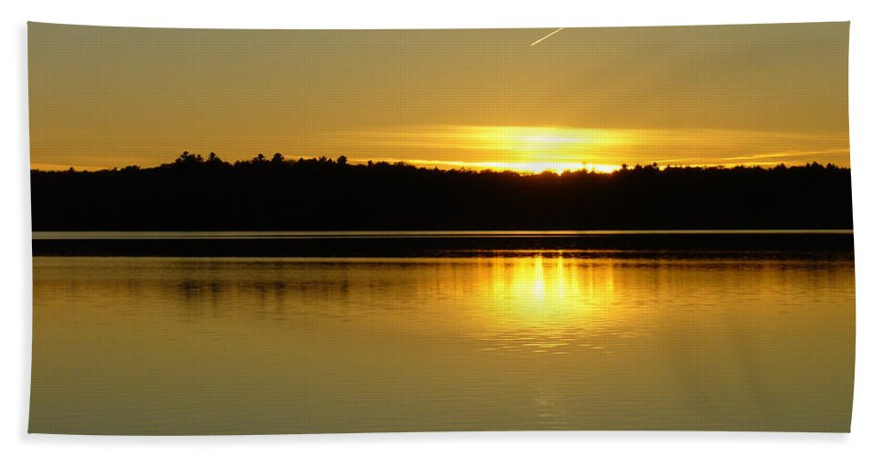Lake Beach Towel featuring the photograph Golden Glow by Shirley Radebach