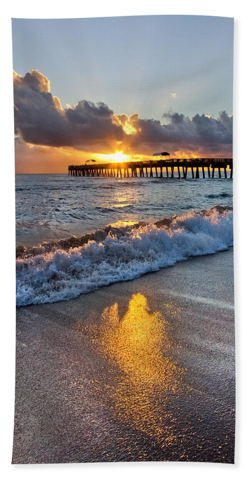 Clouds Beach Towel featuring the photograph Golden Shadows by Debra and Dave Vanderlaan