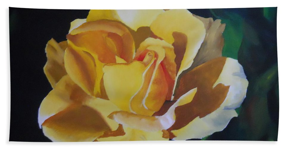 Goldne Showers Rose Beach Towel featuring the painting Golden Showers Rose by Yenni Harrison