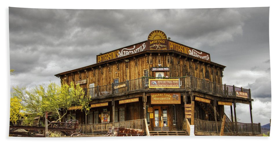 Goldfield Ghost Town Beach Towel featuring the photograph Goldfield Ghost Town - Peterson's Mercantile by Saija Lehtonen