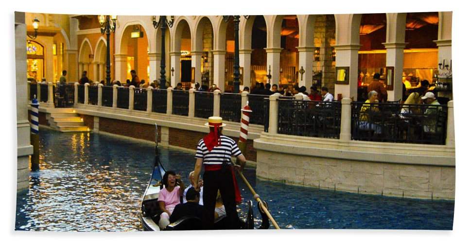 Las Vegas Beach Towel featuring the photograph Gondola Ride Inside Venetian Hotel by Jon Berghoff