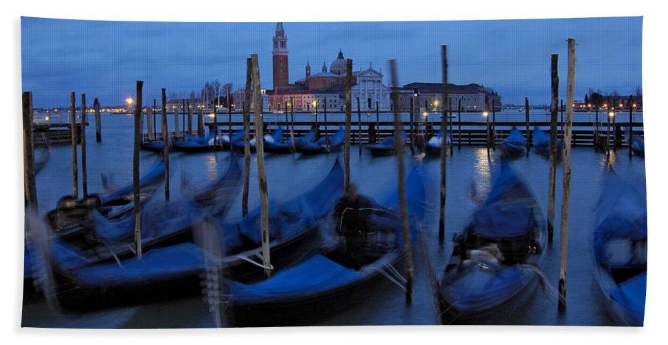 Italy Beach Towel featuring the photograph Gondolas At Dusk In Venice by Ayhan Altun
