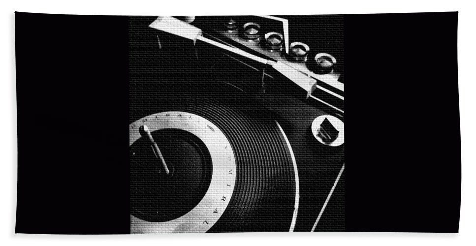 Reels Record Player Tape Player Analog Vintage Admiral Push Button Cassette Old School Screw Round Disk Vinyl Needle Contrast Star Rollmusic Sound Equipment Modern Cool Rare Crisp Bright Reflective Beach Towel featuring the photograph Good Feeling by Gabe Arroyo