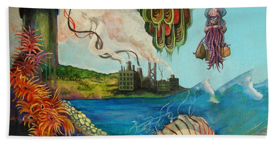Pollution Beach Towel featuring the painting Goodbye by Mindy Huntress