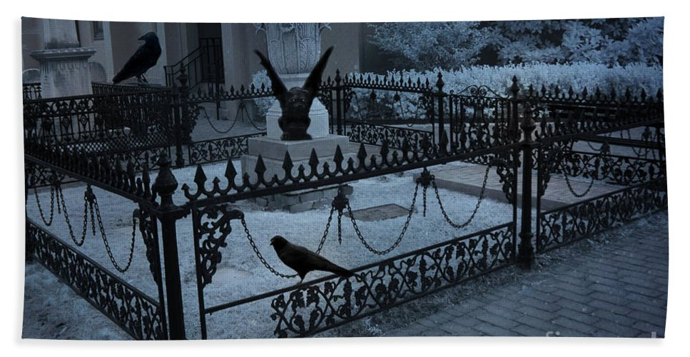 Cemetery Gargoyle Beach Towel featuring the photograph Gothic Surreal Night Gargoyle And Ravens - Moonlit Cemetery With Gargoyles Ravens by Kathy Fornal