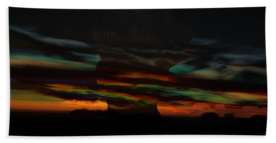 Woman Clouds Sky Colors Of The Rainbow Image Naked Women Night Dusk Sunset Storm Within Beach Towel featuring the photograph Grabbing Life By The Colors by Andrea Lawrence