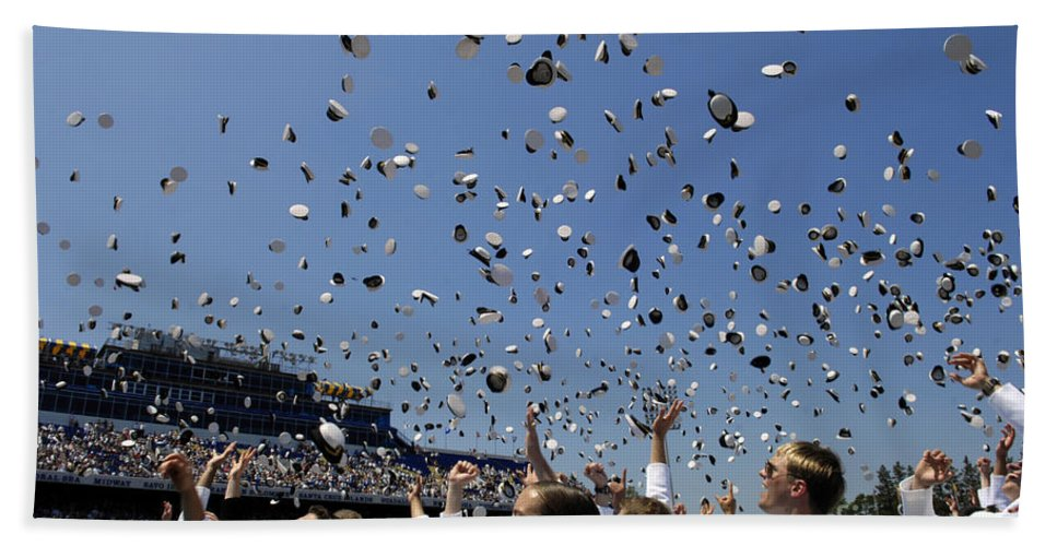 Academy Beach Towel featuring the photograph Graduates Of The U.s. Naval Academy by Stocktrek Images