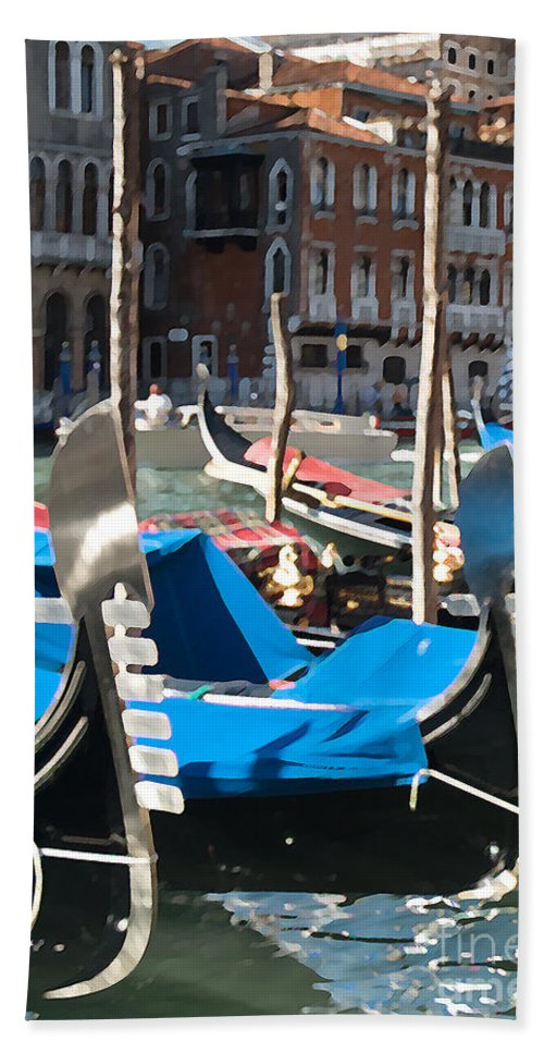 Sea Beach Towel featuring the photograph Grand Canal Gondolas Painting by Jim Chamberlain
