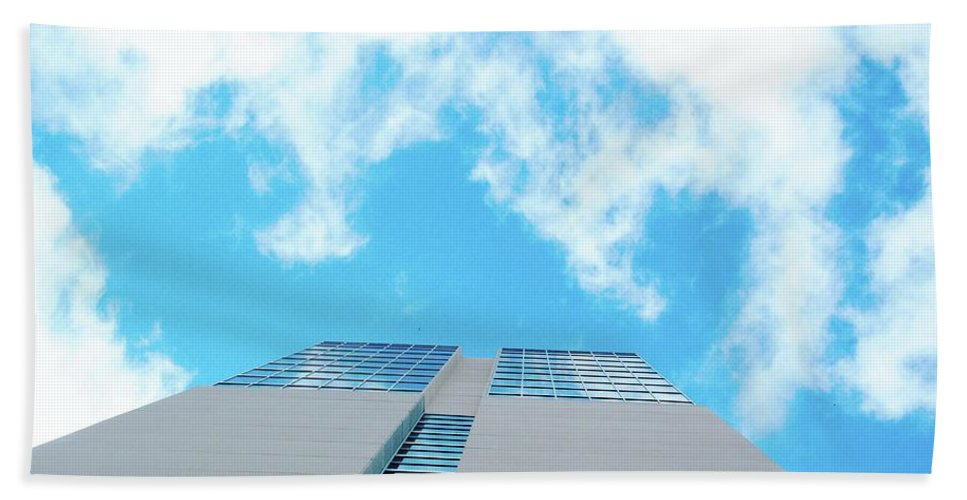 Sky Beach Towel featuring the digital art Grand Hyatt San Antonio by Lizi Beard-Ward