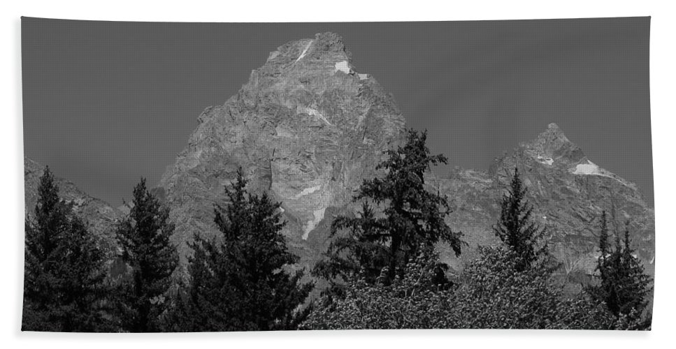 Mountains Beach Towel featuring the photograph Grand Teton Bw by Michael MacGregor