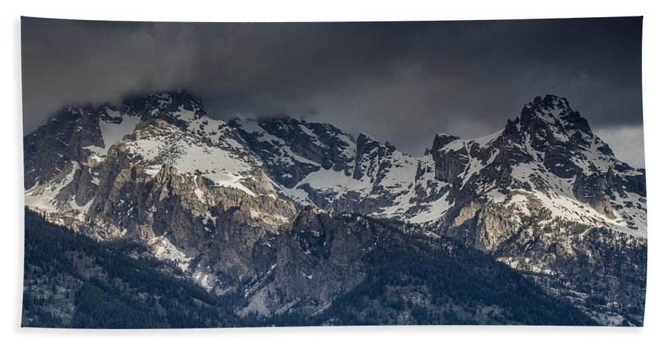 Grand Tetons National Park Beach Towel featuring the photograph Grand Tetons Immersed In Clouds by Greg Nyquist