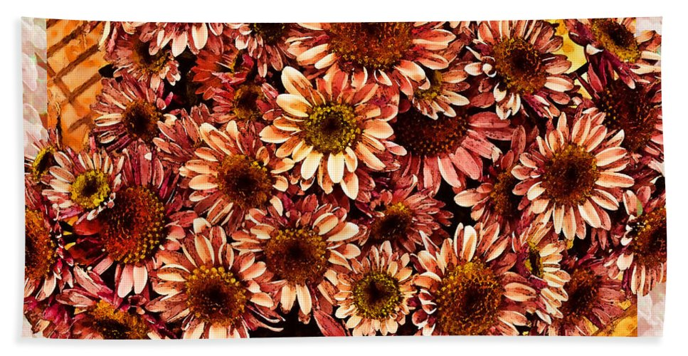 Plants Beach Towel featuring the digital art Graphic Dasies by Debbie Portwood