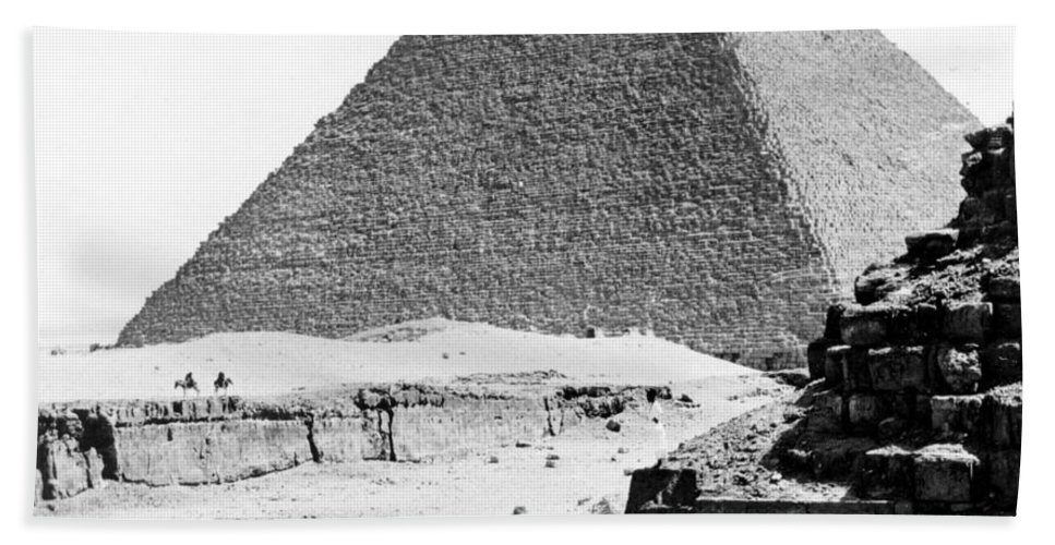 Egypt Beach Towel featuring the photograph Great Pyramid Of Giza - Egypt - C 1926 by International Images