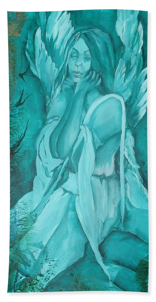 Angels Beach Towel featuring the painting Green Angel by Angelina Whittaker Cook